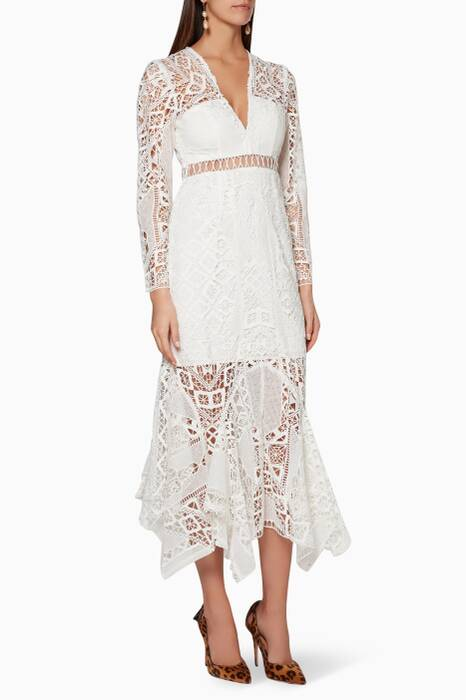 White Lace Empire Sun Dress