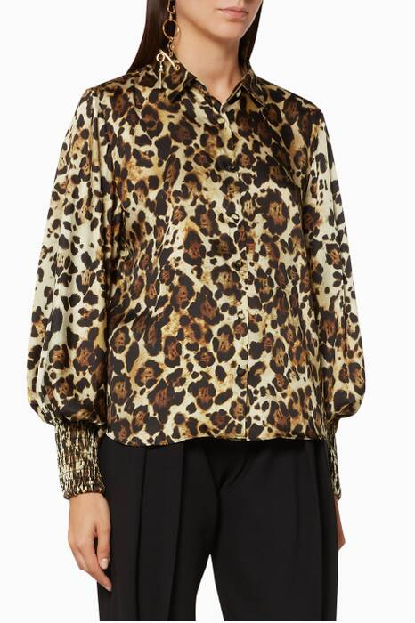 Brown Leopard Printed Romana Top