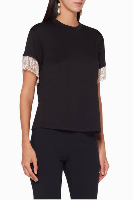 Black Fringed-Sleeve Olinda Top