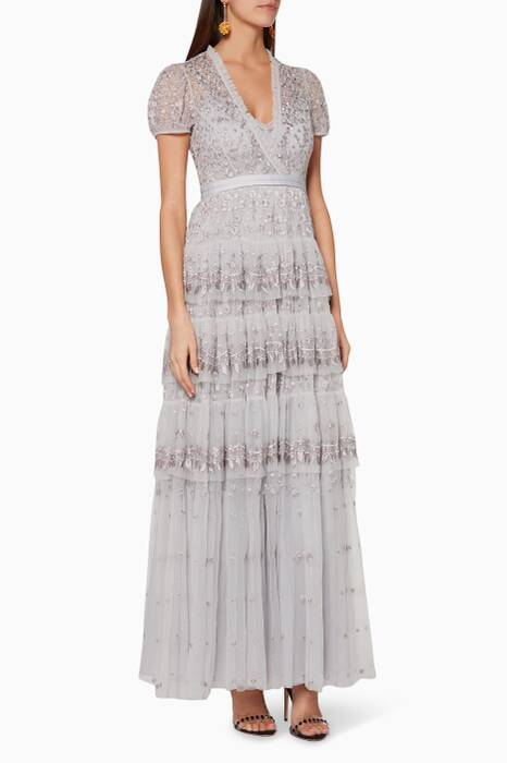 Dusk-Blue Layered Lace Gown