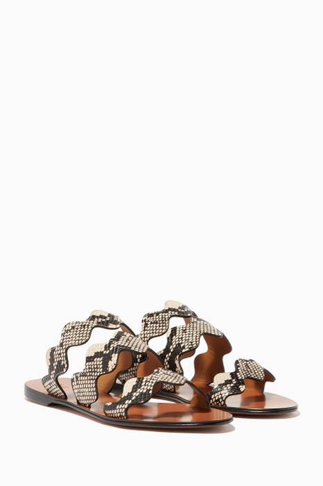 Eternal-Grey Python Print Leather Sandals