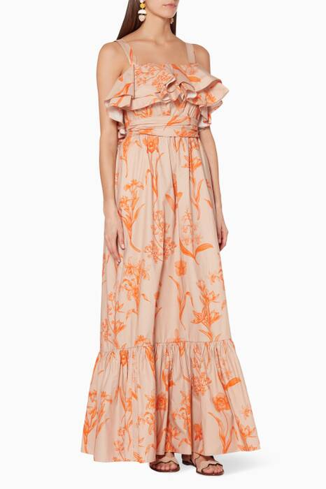 Camel Printed Tropical Wave Dress