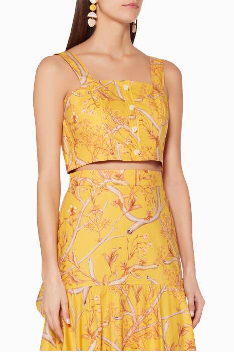 Yellow Printed Romantic Travels Top