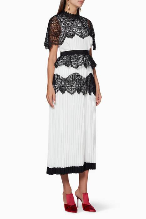 Ivory & Black Floral Lace Scallop Cape Dress
