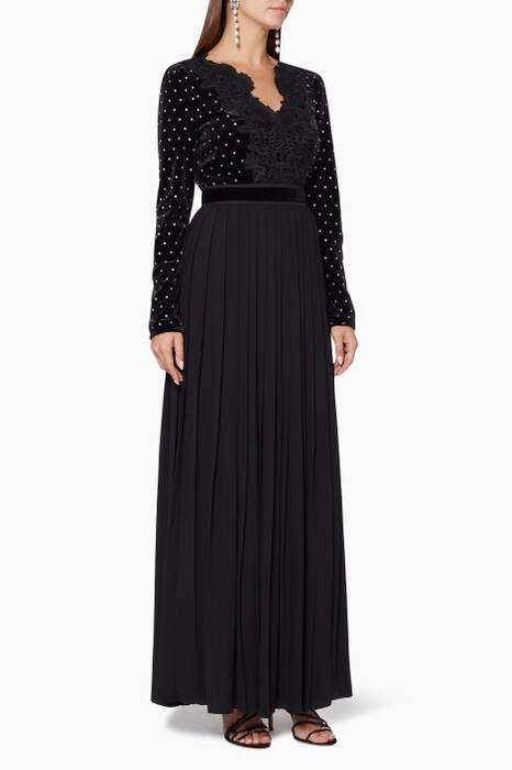 Black Lace Trimmed Diamante Maxi Dress