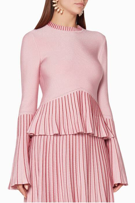 Pink Metallic Pleated Top