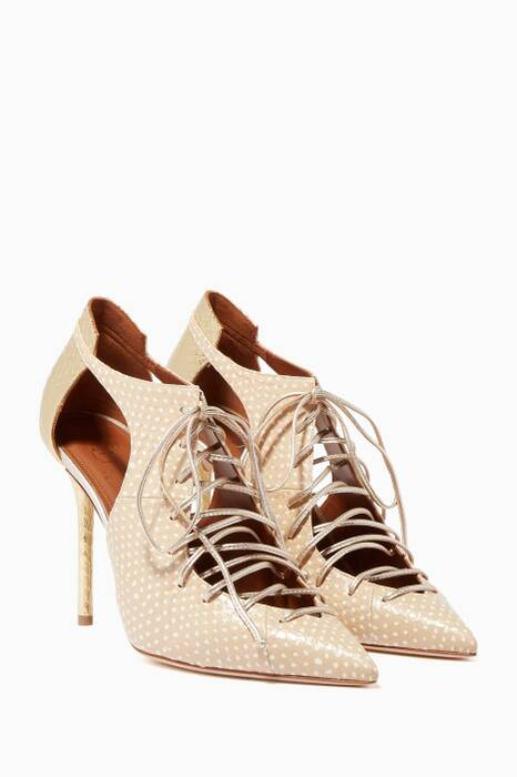 Light-Beige Montana Elaphe Lace-Up Booties