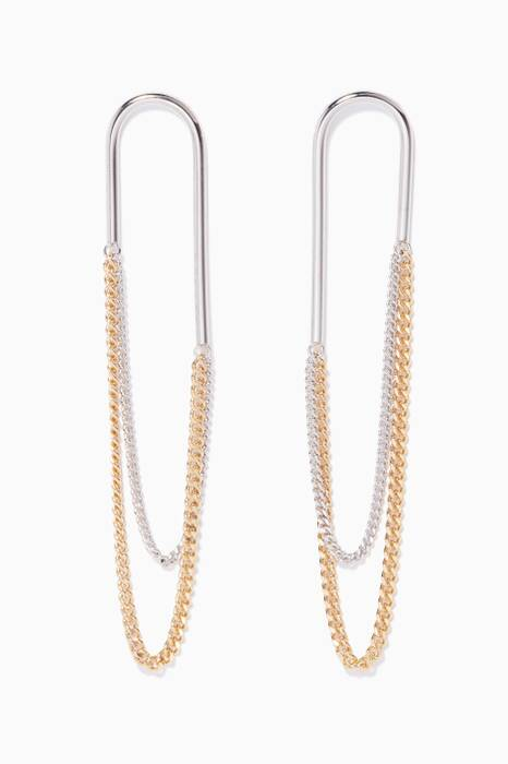Silver & Gold Pipe Chain II Earrings