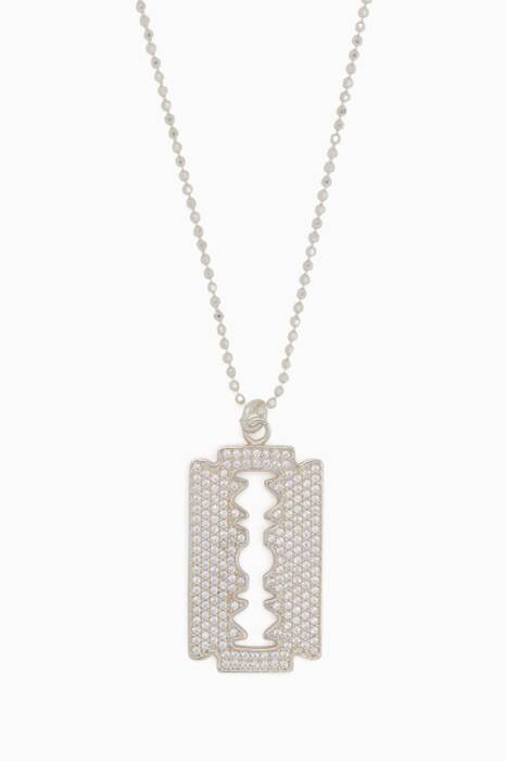 Silver Razor Blade II Necklace