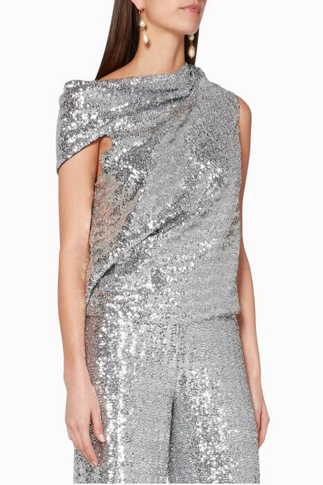 Silver Eugene Draped Top