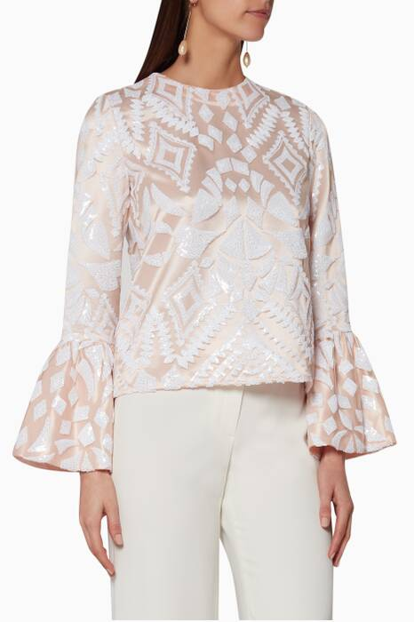 Light-Pink Sequin-Embroidered Top