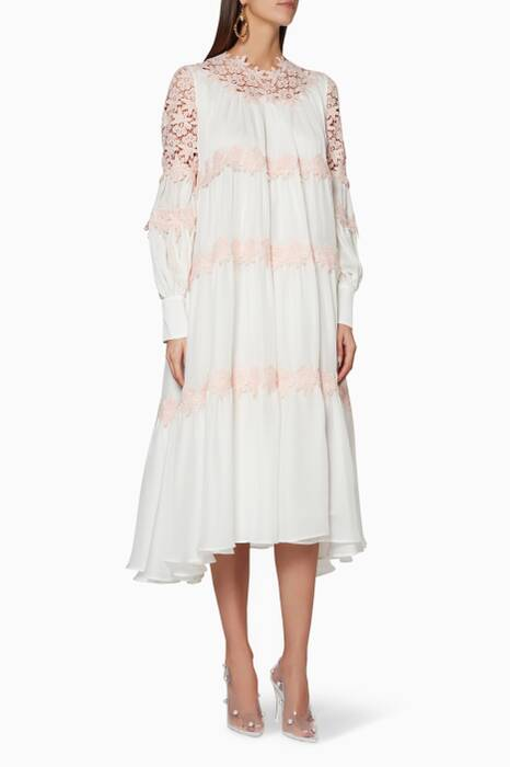 White & Pink Floral-Lace Lucille Dress