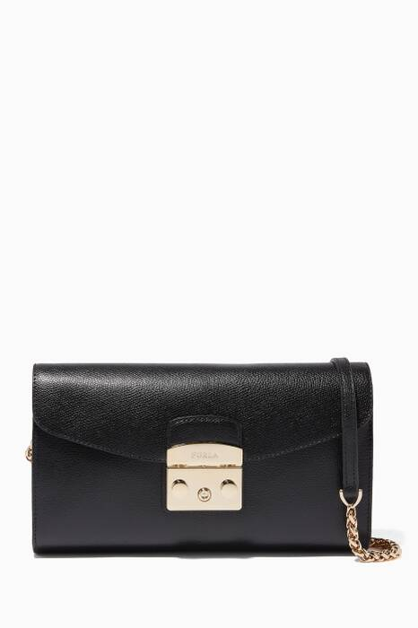 Onyx Leather Metropolis Clutch
