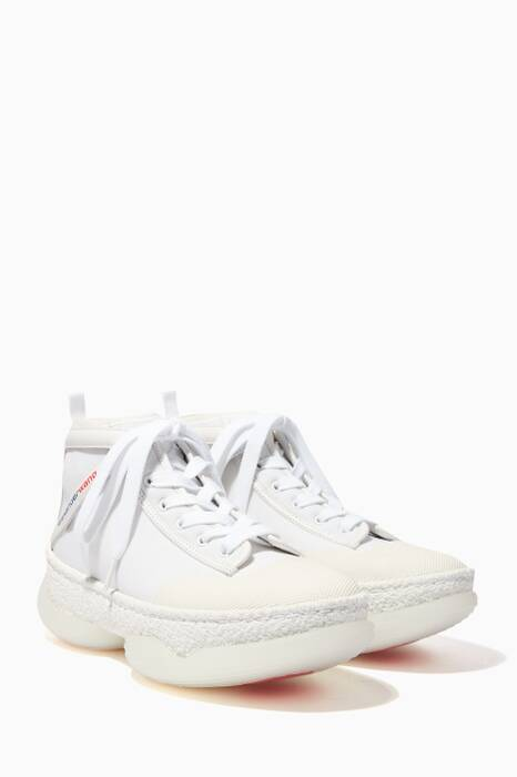 White High-Top Chunky Sole Sneakers
