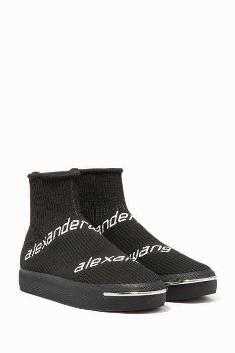 Black Logo High-Top Sneakers
