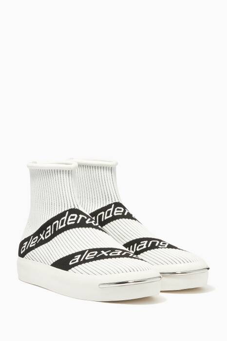 White Logo High-Top Sneakers