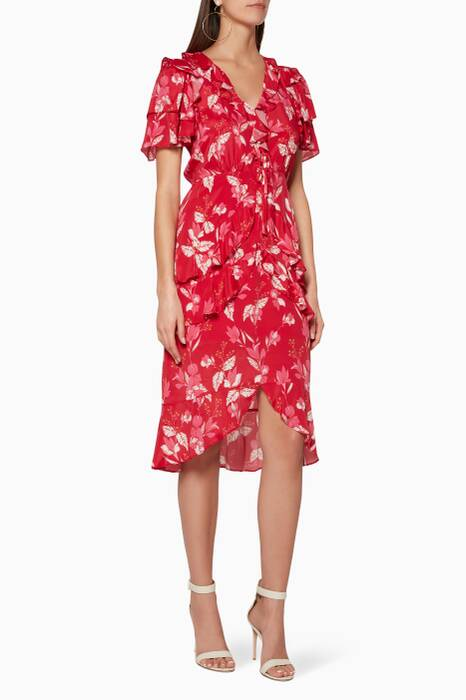 Red Leaf Print Pollen Midi Dress