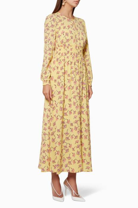 Lemon-Yellow Printed Agnete Maxi Dress