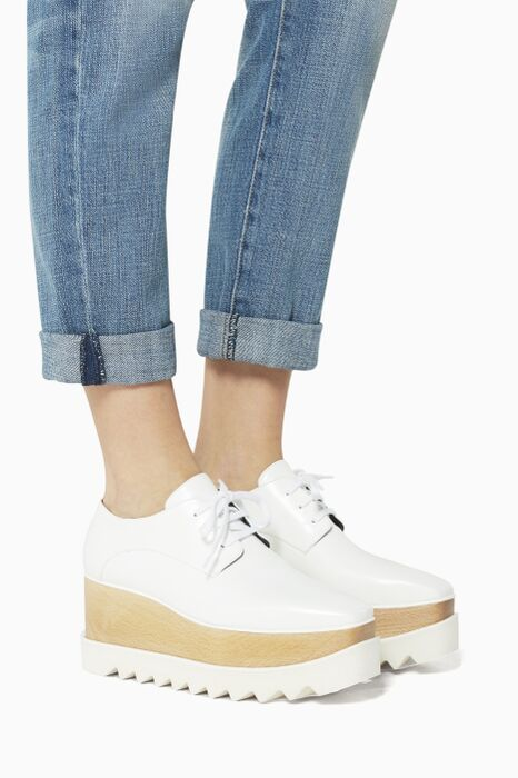 White Elyse  Platform Oxfords