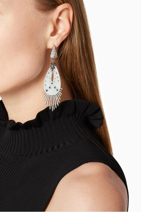 Off-White Bone and Marcasite Gemstone Earrings