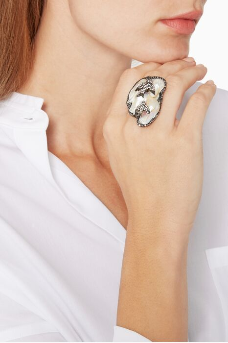 Off-White Baroque Pearl And Marcasite Swallow Ring