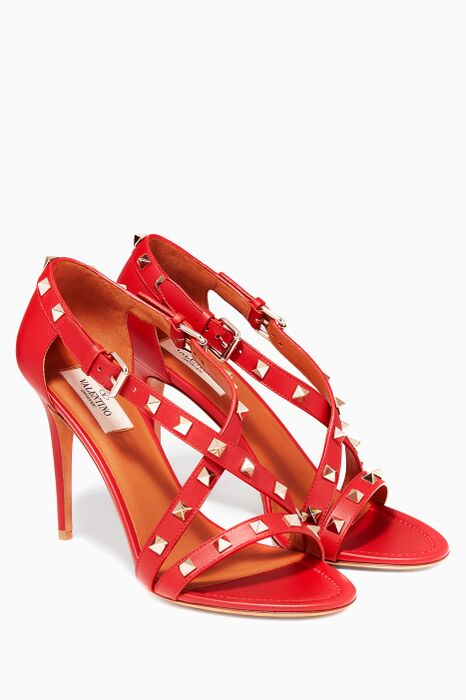 Rockstud Crossover Leather Sandals