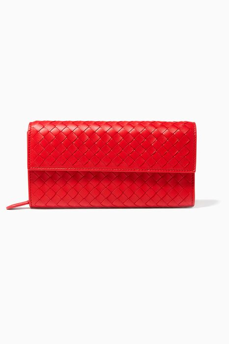 Red Intrecciato Continental Wallet