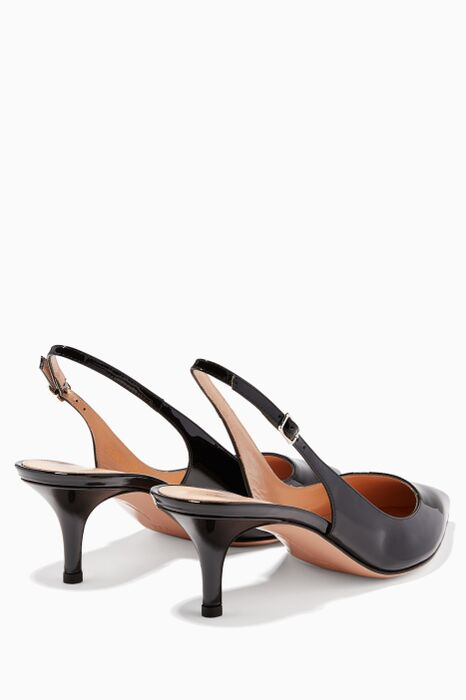 Black Patent-Leather Slingback Pumps