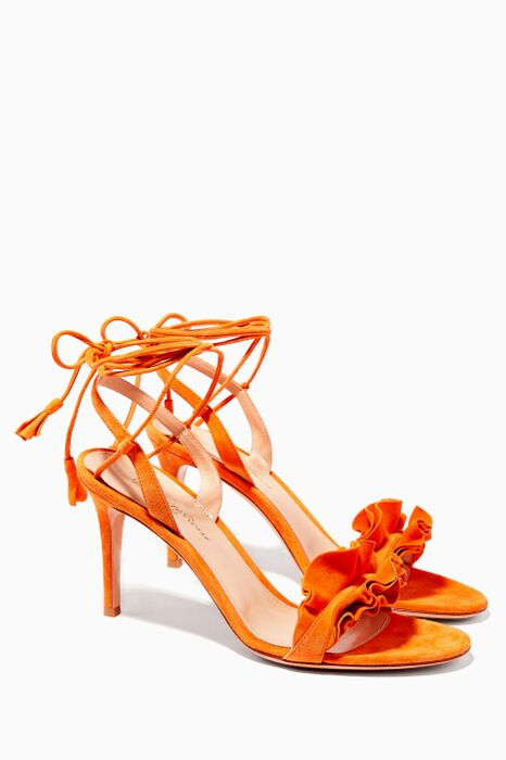 Orange Ruffled Suede Sandals