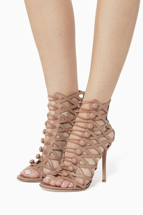 Beige Caged Leather Sandals