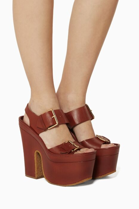 Brown Buckled Platform Sandals