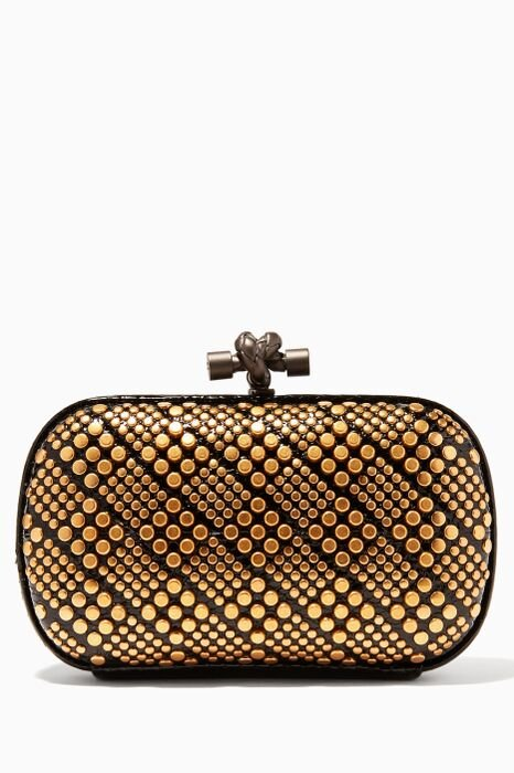 Gold Knot Intrecciato Studded Clutch