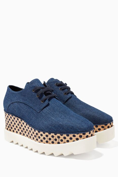 Navy Elyse Denim Platform Oxfords