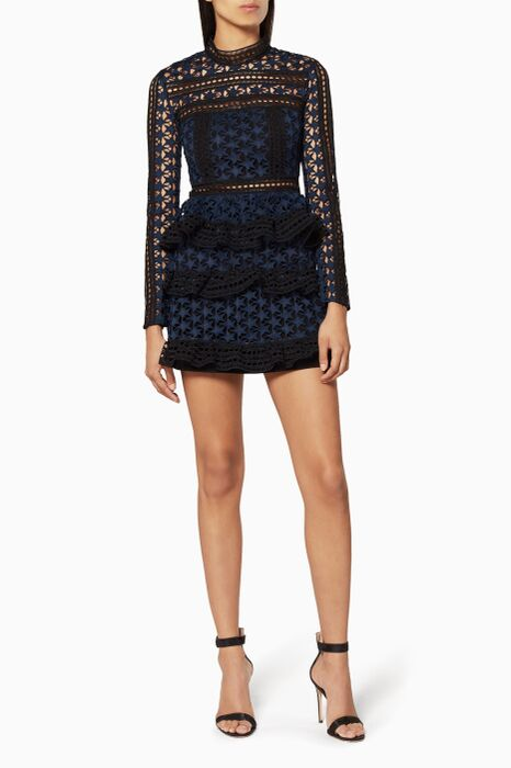 Navy High Neck Star Lace Paneled Dress