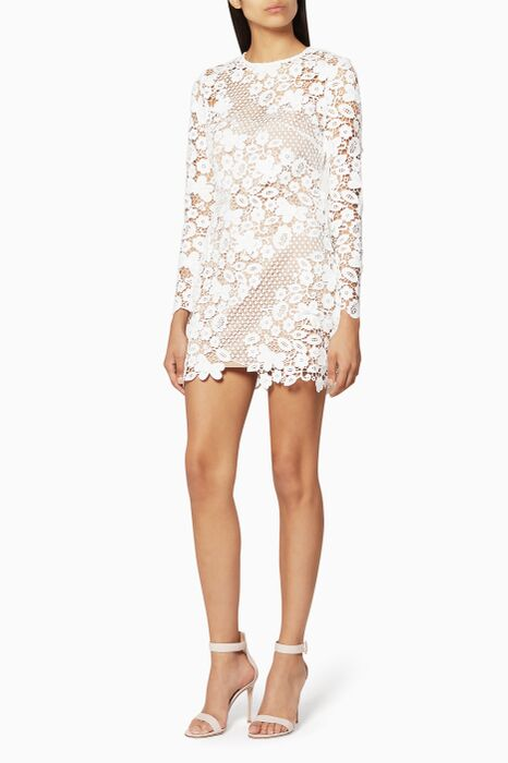 White 3-D floral guipure-lace Dress