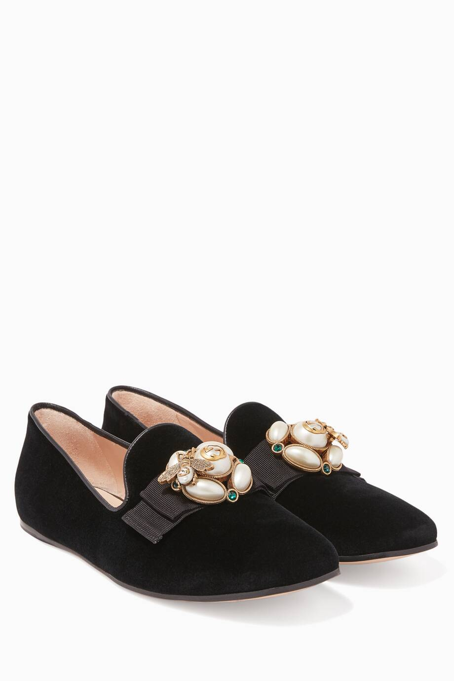 Etoile faux-pearl embellished velvet loafers Gucci 4T809MsV1O