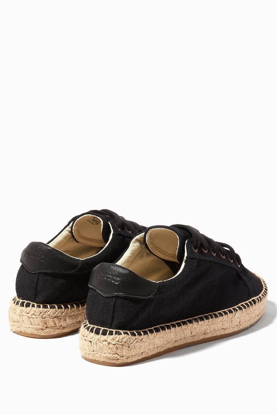 shop luxury soludos black canvas platform tennis sneakers