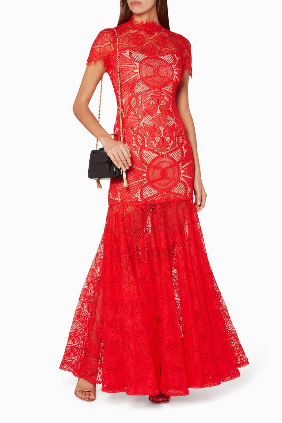 Shop Luxury Jonathan Simkhai Red Lace Applique Dress