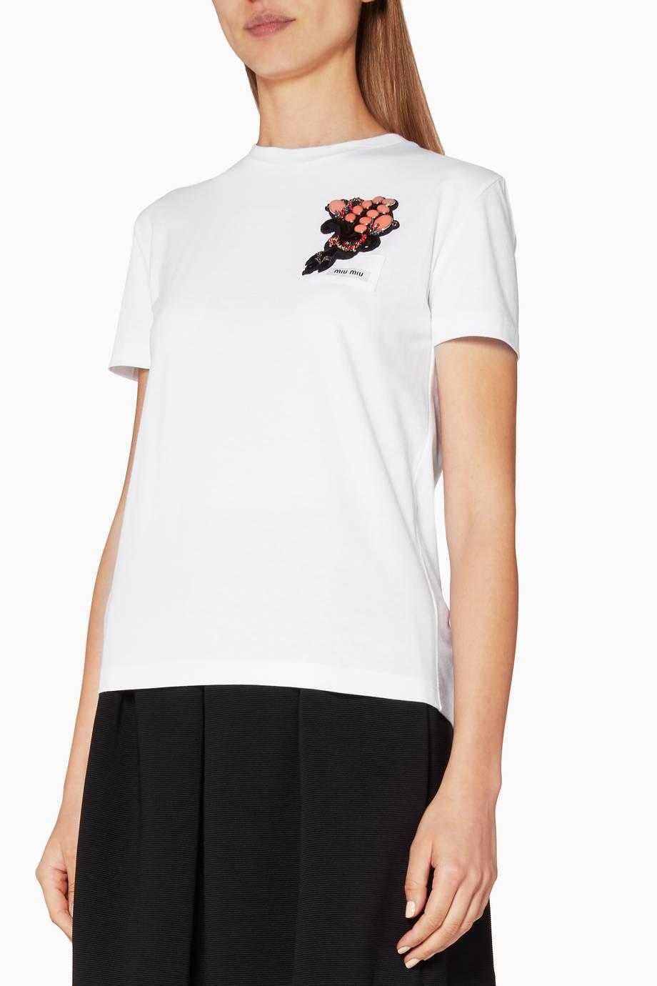 Shop luxury miu miu white embellished patch t shirt for Miu miu t shirt