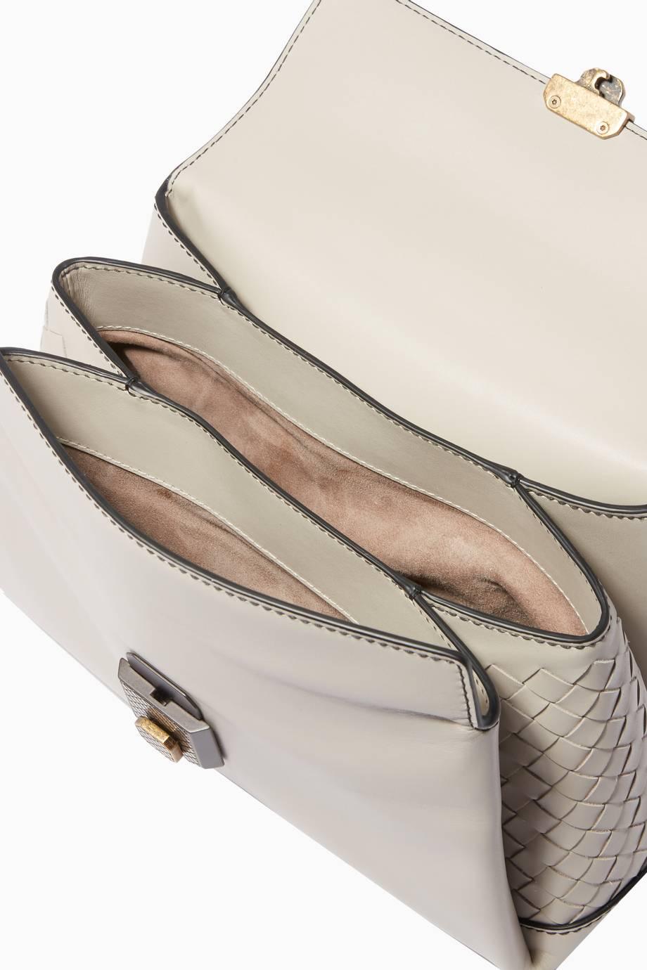 Shop Luxury Bottega Veneta Light-Grey Small Nappa Piazza Top Handle ... aa510886c2e19