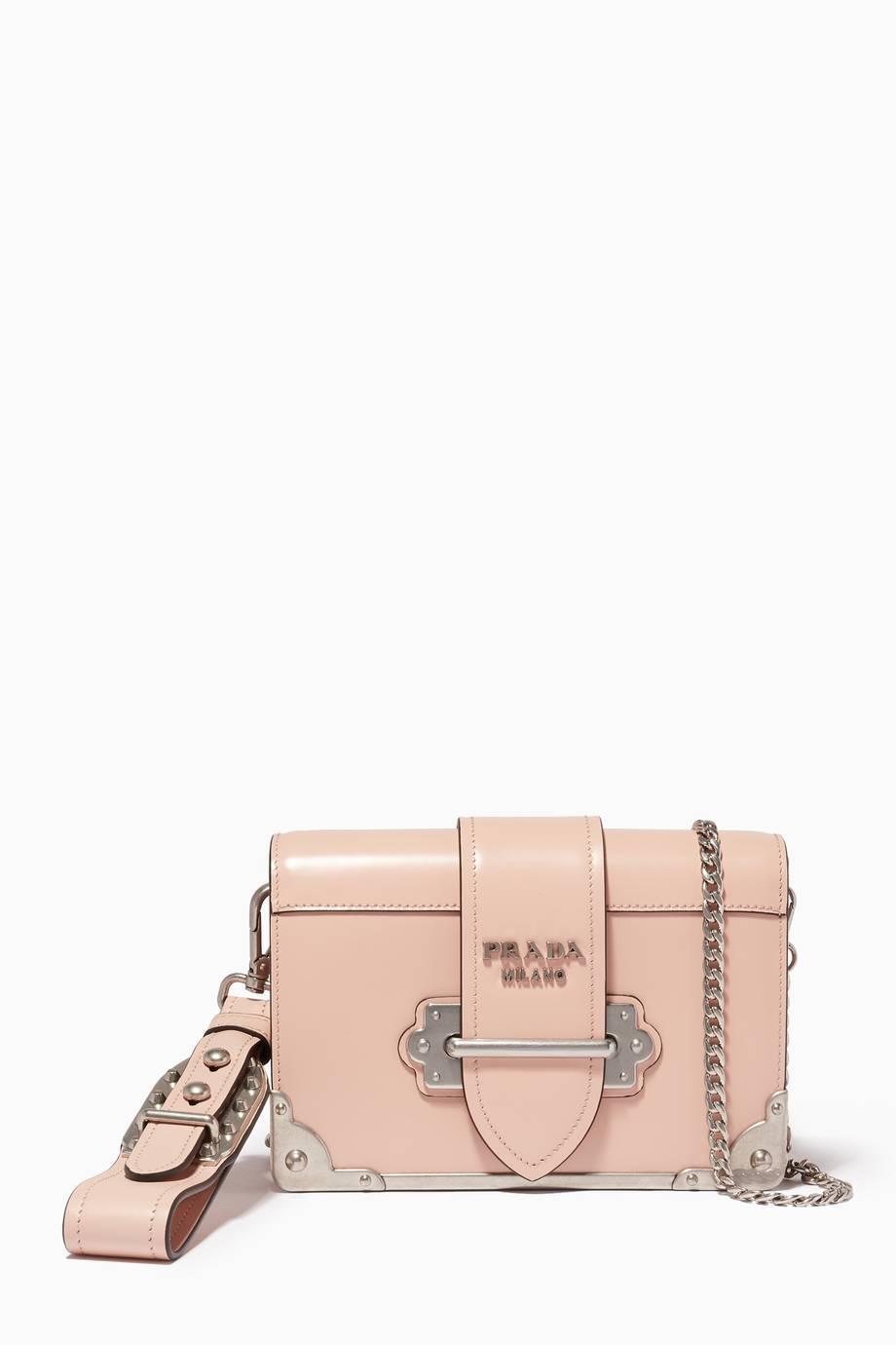 a42ba67c13e1 ... wholesale shop luxury prada pink mini cahier chain wristlet shoulder bag  d53f6 330b4