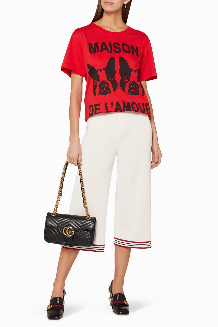 b8e2d572f61 Shop Luxury Gucci Red Maison de l Amour T-Shirt