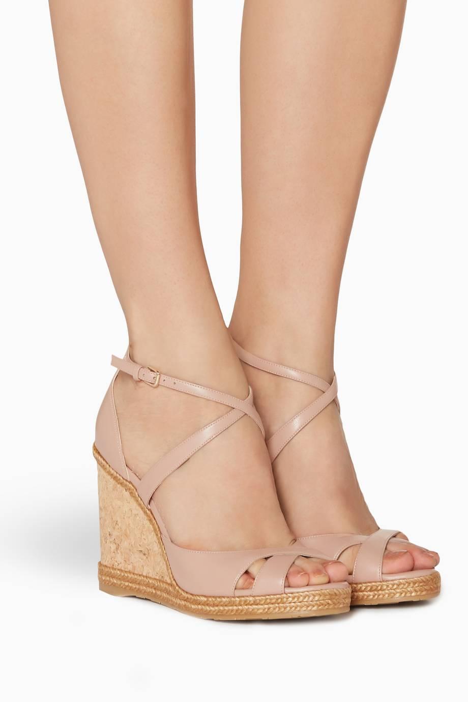 8ec4044cd08b Shop Luxury Jimmy Choo Ballet-Pink Alanah 105 Leather Wedges ...
