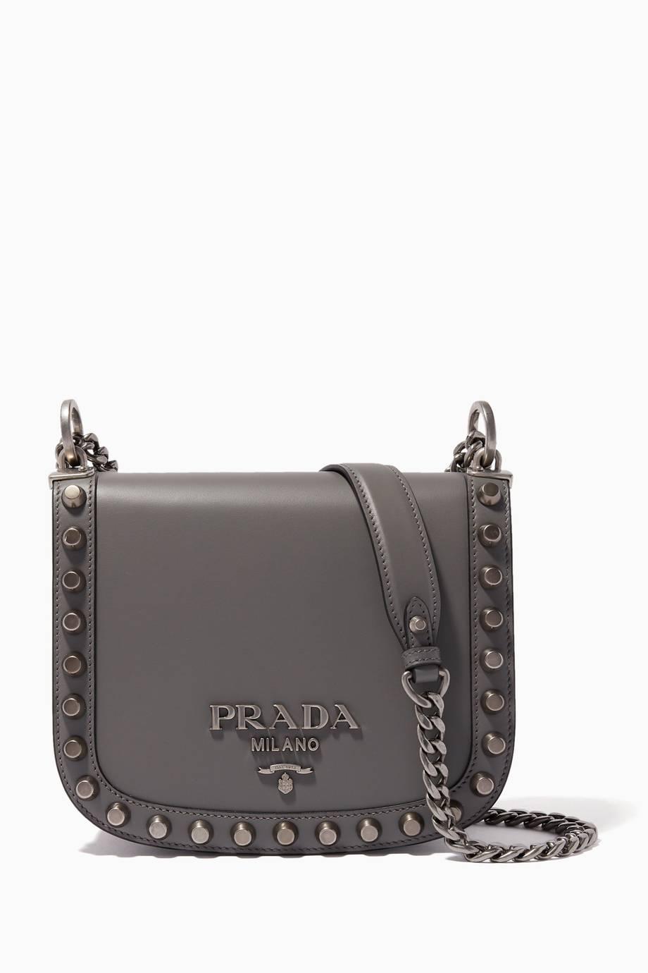 27ac61c228ba Shop Luxury Prada Marble-Grey Studded Pionnière Chain Shoulder Bag ...