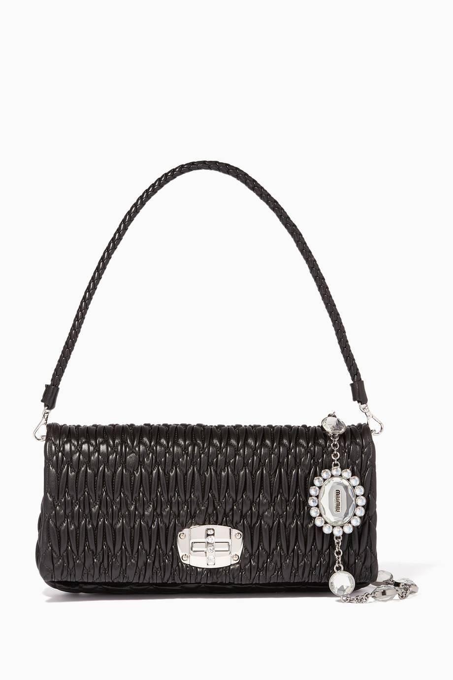bd0e3d24592e Shop Luxury Miu Miu Black Large Iconic Crystal Shoulder Bag