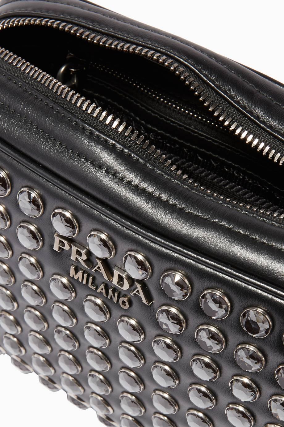 57c889b7ca056 تسوق حقيبة كروس داياجرام جلد بكريستال سوداء من برادا