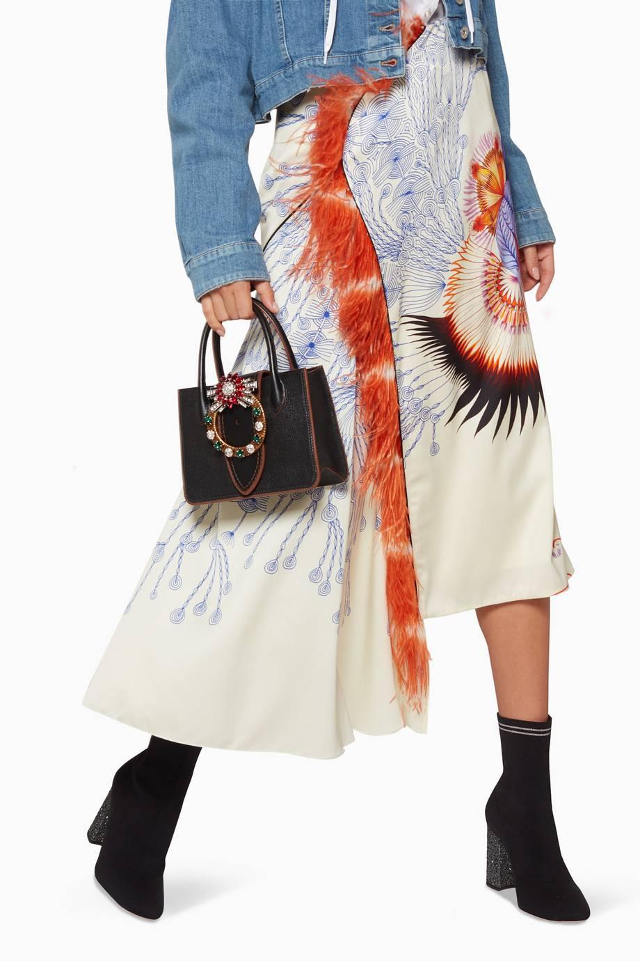 37399046bf Shop Luxury Miu Miu Black Nano Lady Madras Embellished Top Handle ...
